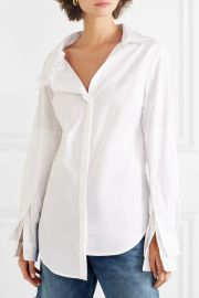 Asymmetric stretch-cotton poplin shirt at Net A Porter