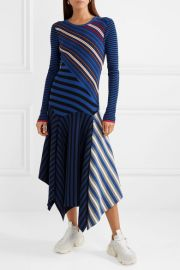Asymmetric striped cotton-blend midi dress by Opening Ceremony at Net A Porter