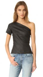 Asymmetrical One Shoulder Leather Top by Helmut Lang at Shopbop