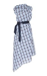 Asymmetrical Checked Cotton-Linen Midi Dress by Martin Grant at Moda Operandi