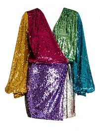 Attico - Colorblock Sequin Mini Wrap Dress at Saks Fifth Avenue