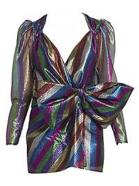 Attico - Metallic Stripe Tulle Mini Dress at Saks Fifth Avenue