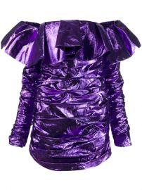 Attico Off Shoulder Ruffle Dress - Farfetch at Farfetch