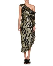 Attico One-Shoulder Metallic-Chiffon Ruffled Cocktail Dress at Neiman Marcus