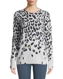 Autumn Cashmere Leopard-Print Cashmere Crewneck Sweater at Neiman Marcus