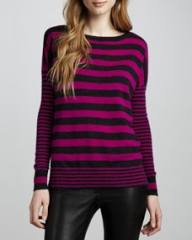 Autumn Cashmere Mixed-Stripe Cashmere Sweater at Neiman Marcus