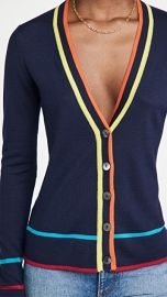 Autumn Cashmere Multi Color Banded V Neck Cashmere Cardigan at Shopbop