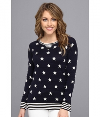 Autumn Cashmere Stars and Stripes Sweater MidnightParchment at 6pm