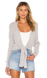Autumn Cashmere Tie Front Rib Cardigan in Fog from Revolve com at Revolve