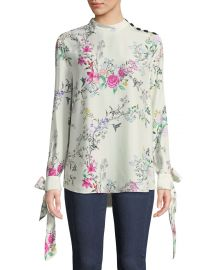Avelaine Long-Sleeve Tie-Cuffs Floral-Print Blouse at Nemain Marcus