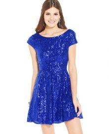 B Darlin Juniors Cap Sleeve Sequined Dress - Juniors Dresses - Macys at Macys