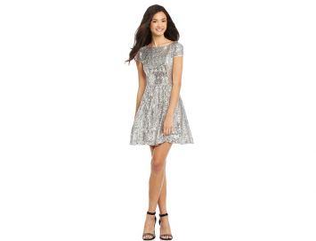 B Darlin Juniors Cap Sleeve Sequined Dress silver at Macys