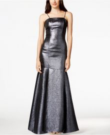 B Michael Metallic Mermaid Gown at Macys