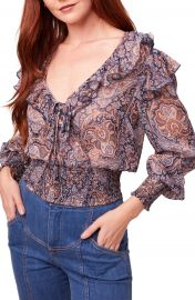 B O G  Collective Diana Paisley Print Ruffle Blouse   Nordstrom at Nordstrom