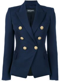 BALMAIN DOUBLE BREASTED BLAZER - BLUE at Farfetch
