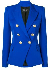 BALMAIN DOUBLE BREASTED JACKET - BLUE at Farfetch