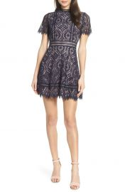 BB Dakota On List Short Sleeve Lace Fit  amp  Flare Dress   Nordstrom at Nordstrom