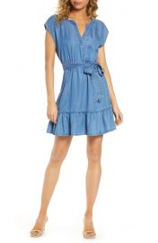 BB Dakota Ruffle Hem Chambray Wrap Dress at Nordstrom