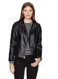 BB Dakota Women\'s Jerilyn Studded Pu Leather Moto Jacket at Amazon