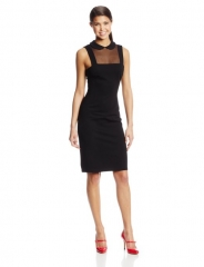 BB Dakota Women's Rhyannon Ponte and Mesh Sleeveless Dress at Amazon