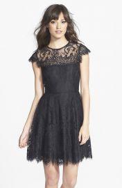 BB Dakota and39Rhiannaand39 Illusion Yoke Lace Fit andamp Flare Dress in Black at Nordstrom