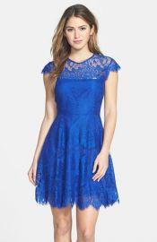 BB Dakota and39Rhiannaand39 Illusion Yoke Lace Fit andamp Flare Dress in blue at Nordstrom