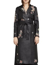 BCBGMAXAZRIA Alix Embroidered Faux Leather Trench Coat x at Bloomingdales
