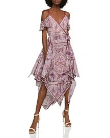 BCBGMAXAZRIA Cold-Shoulder Festival Paisley Wrap Dress x at Bloomingdales