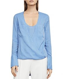 BCBGMAXAZRIA Ginevra Striped Faux-Wrap Top at Bloomingdales