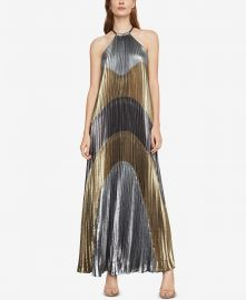 BCBGMAXAZRIA METALLIC COLORBLOCKED PLEATED GOWN at Macys