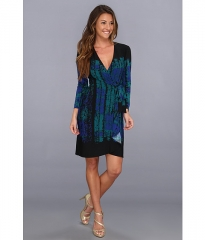 BCBGMAXAZRIA Adele Printed Wrap Dress LNV6Y523 Teal Combo at 6pm
