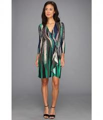 BCBGMAXAZRIA Adele Printed Wrap Dress ULR6Z776 Evergreen Combo at 6pm