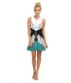 BCBGMAXAZRIA Alaina Print Blocked Sleeveless Sheath Dress Light Aqua Combo at 6pm