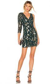 BCBGMAXAZRIA Asymmetric Faux Wrap Dress in Fern Combo from Revolve com at Revolve