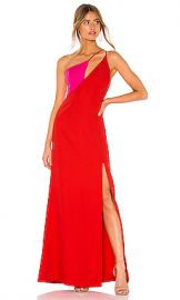 BCBGMAXAZRIA Cut Out Colorblock Gown in Rosso from Revolve com at Revolve