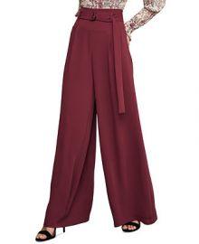 BCBGMAXAZRIA D-Ring Belted Wide-Leg Matte Satin Pants   Reviews - BCBGMAXAZRIA - Women - Macy s at Macys