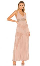 BCBGMAXAZRIA Eve Pleated Gown in Bare Pink from Revolve com at Revolve