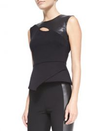 BCBGMAXAZRIA Farrah PonteFaux-Leather Top at Neiman Marcus
