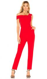 BCBGMAXAZRIA Haida Off Shoulder Jumpsuit in Red Berry from Revolve com at Revolve