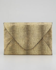 BCBGMAXAZRIA Harlow Snake-Embossed Evening Clutch Gold at Neiman Marcus