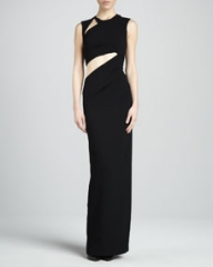 BCBGMAXAZRIA High-Neck Evening Gown with Cutouts at Neiman Marcus