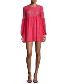 BCBGMAXAZRIA Kitra Bishop-Sleeve Mini Babydoll Cocktail Dress Lipstick Red at Neiman Marcus