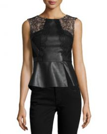 BCBGMAXAZRIA Laine Faux-Leather Peplum Top Black at Neiman Marcus