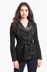 BCBGMAXAZRIA Leather Trim Asymmetrical Belted Jacket at Nordstrom