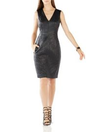 BCBGMAXAZRIA Livie Quilted Faux Leather Dress at Bloomingdales