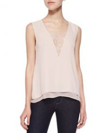BCBGMAXAZRIA Mishelle Tank with Lace Inset at Neiman Marcus