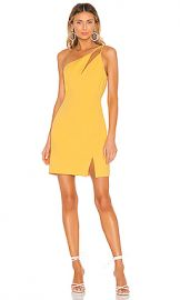BCBGMAXAZRIA One Shoulder Cut Out Dress in Golden Cream from Revolve com at Revolve