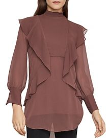 BCBGMAXAZRIA RUFFLE-TRIM TUNIC BLOUSE at Bloomingdales