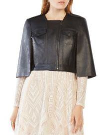 BCBGMAXAZRIA Richie Cropped Faux Leather Cape at Bloomingdales