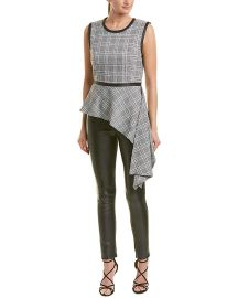 BCBGMAXAZRIA Women s Asymmetrical Houndstooth Drape Top at Amazon